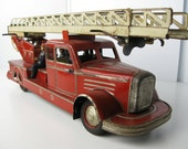 Very Rare Original German tin lithographed windup toy fire ladder truck, 1920s-1930s excellent condition, runs great