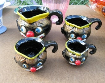 RARE 1940s Thames of Japan Wild Blue Eyed Clown Measuring Cups - Set of 4 - Mint Condition
