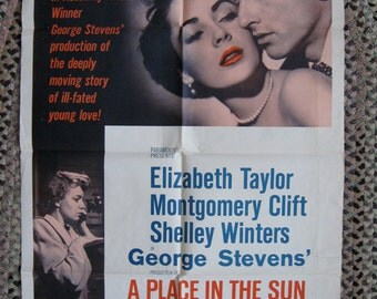 A Place in the Sun 1959 US Re-release 27 x 41 Poster