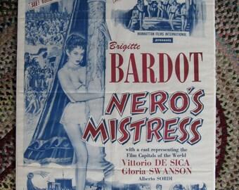 Brigitte Bardot Nero's Mistress 1962 US Release 1 Sheet 27 x 41