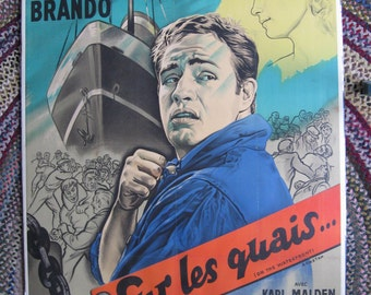 Marlon Brando On the Waterfront (Sur les Quais) 1954 Original French Poster 63 by 47 inches (160 by 120 cm)