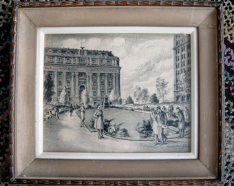 Vernon Howe Bailey original pencil/graphite/crayon drawing Bowling Green Customs House New York City 21 by 17 inches