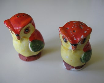 Owl Salt & Pepper Shakers Ceramic/Porcelain Made in Prewar Germany 1930s