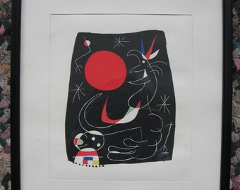 Joan Miro (Spanish, 1893-1983) 1956 lithograph, Untitled. Plate 4, Mourlot Frères 167 Maeght Éditeurs 7.5 by 9 inches