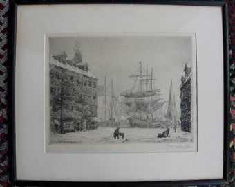 "F. Leo Hunter ""At the Foot of Maiden Lane"" original etching dated 1881 and signed in pencil"