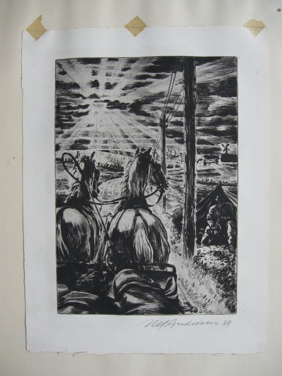 "Niels Yde Andersen ""Going To Town"" original drypoint etching signed in pencil dated 1939"