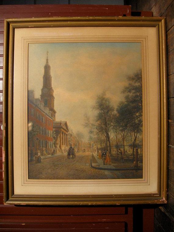 Edward Lamson Henry original hand colored photogravure Saint John's Chapel New York City 1830s