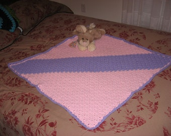 Pink & Lavender Blanket Stitch Square Afghan (Please Note- Ready to Ship)