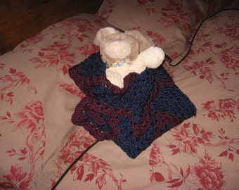 Non-Traditional Baby Afghan in Navy & Grape (Original) (Please Note- Ready to Ship)