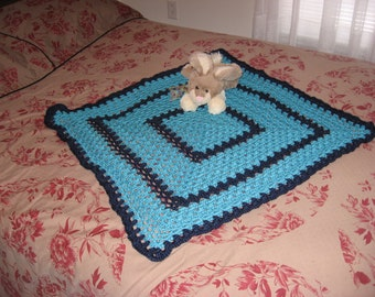 Non-Traditional Baby Afghan in Turquoise & Navy (Original) (Please Note- Ready to Ship)