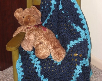 Non-Traditional Baby Afghan in Navy & Turquoise (Original) (Please Note- Ready to Ship)