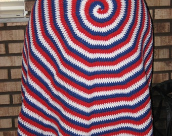 Round Patriotic Afghan (Please Note- Ready to Ship)