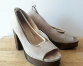 70s Style Suede Rope with Wooden Platform/Heel  - size 7