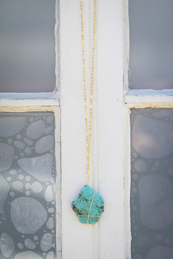 Turquoise wire-wrapped pendant necklace on silver or gold filled chain