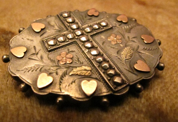 Reserved -Victorian Mourning Brooch with Hearts and a Cross Design front and Photo Back