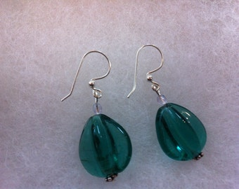 Blue Glass Bead Earrings with Sterling Accents. Made in Maine.