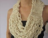 Infinity Scarf + Necklace = Cozy Circle Scarflace, Coffee Cream Knitted and Crocheted Infinity Scarf