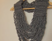 Infinity Scarf plus Necklace equals Cozy Circle Scarflace, Charcoal Knitted and Crocheted Infinity Scarf