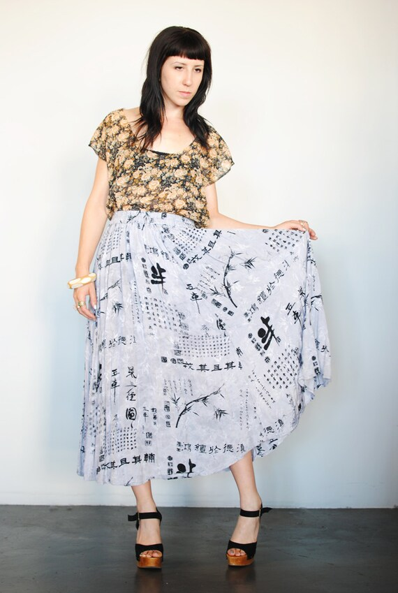 vintage 80s long, flowing, Asian print hippie boho chic skirt with pockets