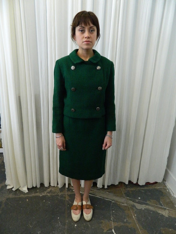 womens vintage MOD SUIT - green tweed with gold lining, Made in Paris by Vogue - 60s chic