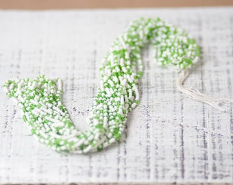 White and Green Mix Seed Beads