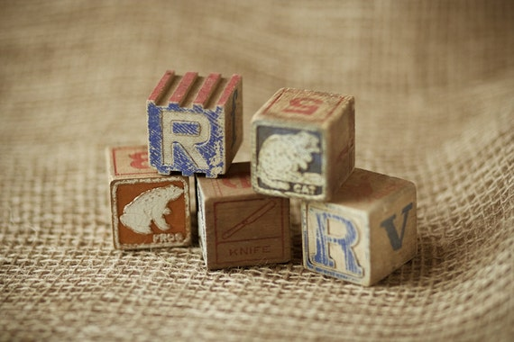 Vintage Alphabet Wood Blocks Assorted Set of 5