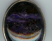 Deep Purple Sugilite Oval Cabochon and Sterling Silver Pendant