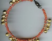 Bead & Bell Anklet - Rainbow Orange Glass and Brass Dancing Bells 9 1/2  inches