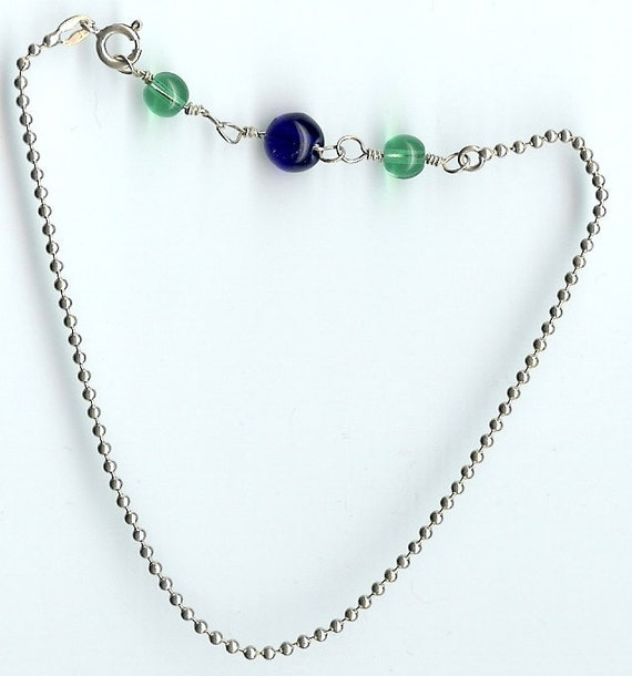 Sterling Silver Ball Chain and Hand-made links with Emerald & Cobalt Glass Bead Anklet - FREE SHIPPING