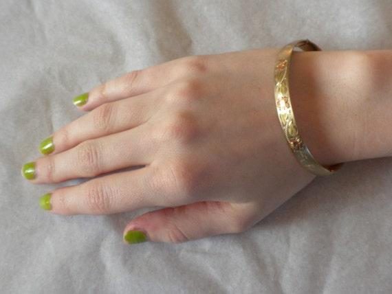 vintage bangle bracelet, 14 K gold plated, marked marathon