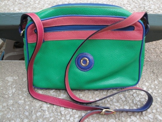 vintage multi colored leather Bettina made in Italy handbag