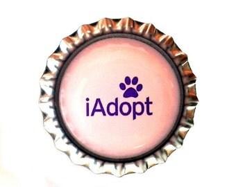 Animal Adoption Bottle Cap Magnet - 'iAdopt' - Refrigerator Magnet, Bottlecap Decor