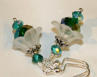Lucite flower earrings, green and teal flower dangle earrings