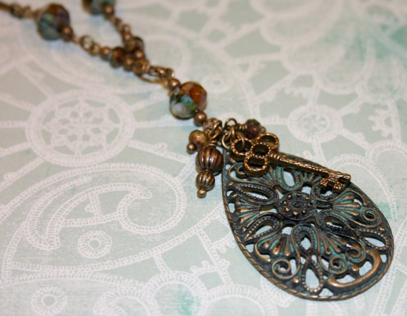 Verdigris Patina Brass, Teardrop Filigree Pendant Necklace, skeleton key