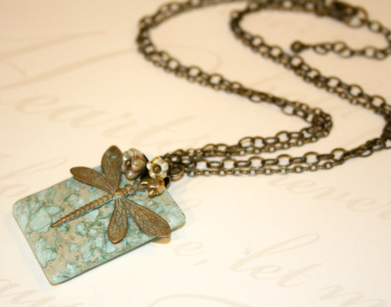 Aqua Terra Impression Jasper and Brass Dragonfly Pendant Necklace, czech bellflower