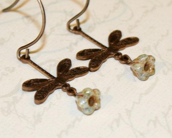 Dragonfly earrings, Vintaj brass dragonfly dangle earrings, woodland, rustic