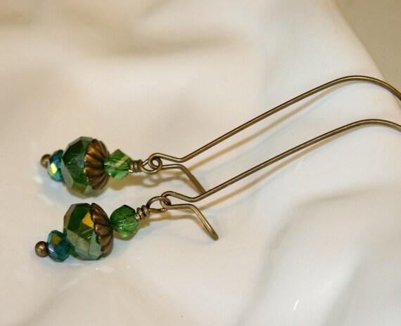 Blue Green czech glass dangle earrings, Long earrings