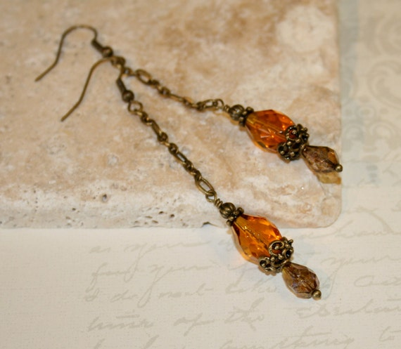 Antique Brass Filigree and czech glass long chain dangle earrings, amber glass