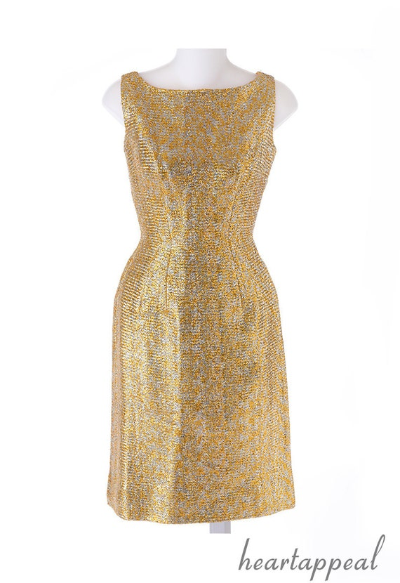 r e s e r v e d // vintage 1960s dress // GOLD SHIMMER silver foil metallic glam cocktail party