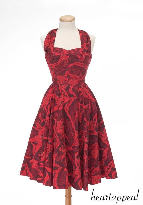 vintage 1950s hawaiian dress // red HOT KAMEHAMEHA hawaii tropical convertable halter full skirt