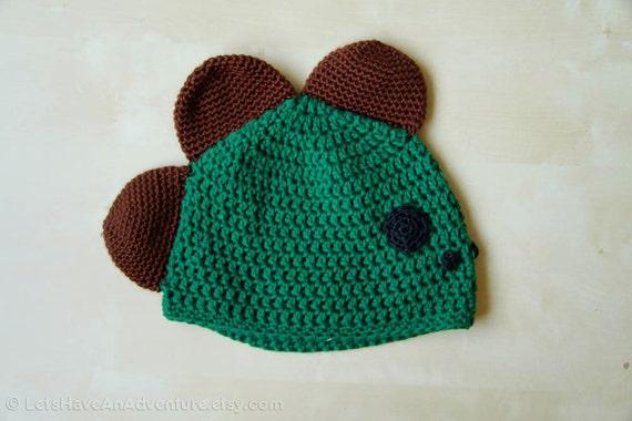 CLEARANCE-- Cute Kawaii Green Dinosaur Animal Crocheted Hat Beanie Cap, Ready to Ship