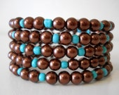 Wrap Bracelet Autumn Brown and Teal Pearl Memory Wire Beaded Stacking Bracelet