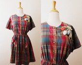 Vintage 'Carrying Flowers Over My Heart' Plaid Checked Teacher Dress