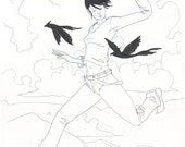 Cloud jumping with bird companions