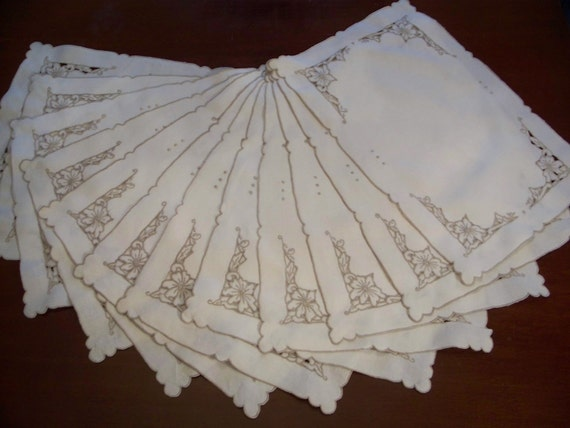 Madeira Linen 12 Placemats and 10 Napkins, Vintage Embroidery and Cutwork