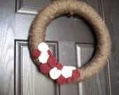 Marroon, tan, and brown wreath