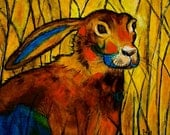 Painting, of a jack rabbit sitting and watching, abstract, acrylic painting, original art