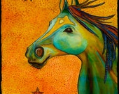 Painting, horse, prancing, in warms colors, ocher's, blues, greens, saddle color 22x30