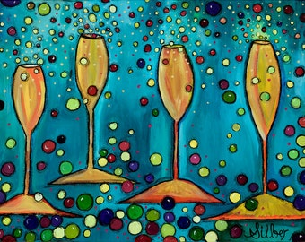 Reproduction, Applause, bright colors, blues and golds, contemporary bubbly champagne theme, size 18x12