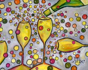 New reproduction of  my Wine themed painting, Moscato, a vibrant, whimsical original painting for those who love wine, size 11x15